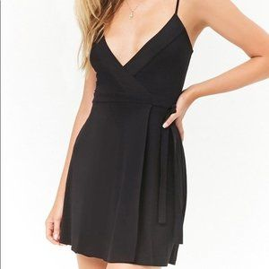 Forever 21 Mini Black Wrap Dress with Tie